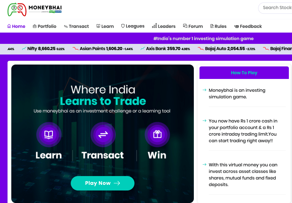 moneybhai  stock simulator india reviews