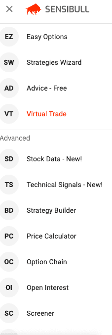 Sensibull virtual options trading